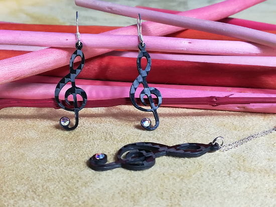 Orecchini Carbonio Chiave Violino Carbon Earrings Violin Key
